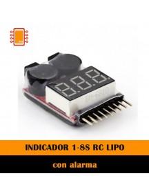INDICADOR 1‐8S RC LIPO PROBADOR DE VOLTAGE DE BATERIA ALARMA