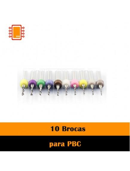 Juego 10 Brocas para PCB una pieza (varios diámetros)