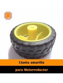 Llanta amarilla robot seguidor de linea 65x26 mm