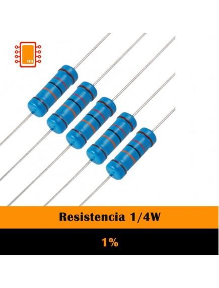 Resistencia de carbón Ohms 1/4W 1%
